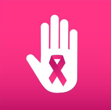 rak: Przestań raka logo medycznej koncepcji ikony. Rak Różowa wstążka, symbol świadomości raka piersi, odizolowane na tle. Ilustracji wektorowych z wstążką na raka raka ludzi i ludzkiej dłoni zatrzymania symbolu. Przychodnie lekarskie koncepcja