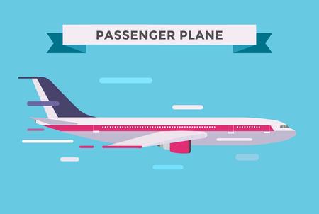 commercial airline: Civil aviation travel passanger air plane vector illustration. Civil commercial airplane flying vector silhouette. Travel plane isolated on background. Cargo transportation airplane vector isolated