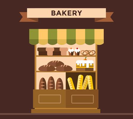 tranches de pain: Boulangerie décrochage avec des produits de boulangerie. Gâteaux de boulangerie, pain, boulangerie décrochage isolés. Commerce alimentaire, gâteau café, une boutique de pain isolé. Bakery magasin fond. Produits de boulangerie, pâtisserie, bonbons de boulangerie