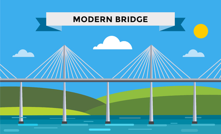 viaduct: Modern bridge vector illustration. Vector bridge silhouette. Outdoor travel background. Travel bridge vector construction. Bridge construction, fast river,travel, transportation. Modern bridge element