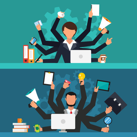 Office job stress work vector illustration. Stress on work. Business woman and man many hands. Office life business girl. and businessman Business situation. People in action. Computer, table, many hands, work. Office vector people. Stress on job