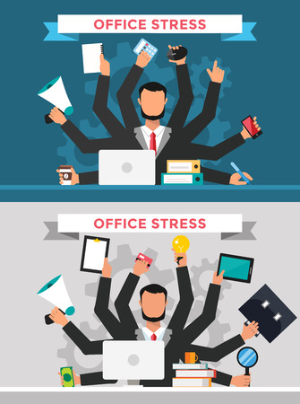 many hands: Office job stress work vector illustration. Stress on work. Business man many hands. Office life business man. Business situation. People in action. Computer, table, many hands, work. Office vector people. Stress on job Illustration