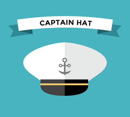 captain cap: Captain hat flat vector icon. Sailor cap vector flat icon. Flat style captain sea hat. Vector illustration of captain vector hat with anchor. Sailor captain hat isolated. Sea, ship, travel, command, control, team, anchor