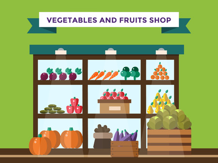 Fruit and vegetables shop stall. Shop market fruits silhouette. Supermarket food shop, fruits shop stall. Food shop vector illustration. Banana, apple, orange, lime, pumpkin fruits. Fruit kiosk vector