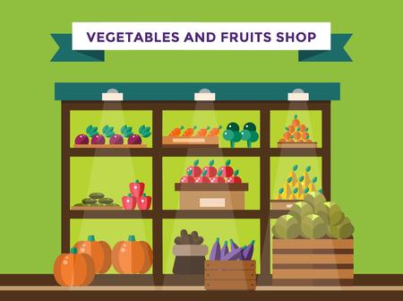 bancarella: Fruit and vegetables shop stall. Shop market fruits silhouette. Supermarket food shop, fruits shop stall. Food shop vector illustration. Banana, apple, orange, lime, pumpkin fruits. Fruit kiosk vector