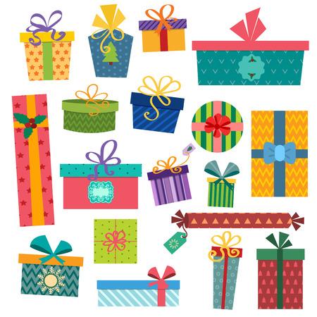 Kleurrijke geschenk dozen met strikken en linten vector set. Geschenkdozen vector illustratie. Set van vector kerst geschenkverpakking. Kerst doos geïsoleerd. Kerstmis en verjaardagscadeau box set. Vakantie gift box set Stock Illustratie