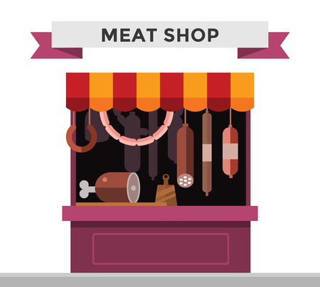 Meat shop stall with meats products. Meat pork, beef, steak, ham shop stall isolated. Food shop, sausage, butcher meat shop isolated. Meat store background. Meat products, meat shop, meat products Illustration