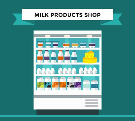 mleka: Mleko sklep stajni. Butelka mleka, ser, szklanki mleka, produktów mlecznych sklep stoisko izolowane. Sklep spożywczy, napoje, półka przechowywania mleka odizolowane. Mleko sklep tła. Produkty mleczne, sklep mleko, produkty mleczne