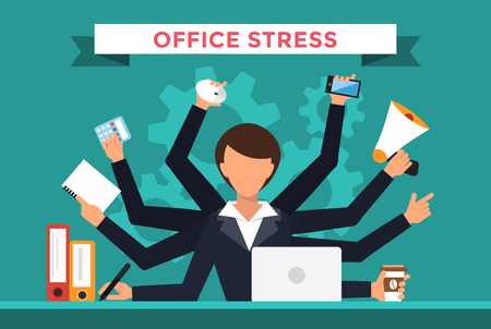 busy office: Office job stress work vector illustration. Stress on work. Business woman day. Office life business girl. Business situation. People in action. Computer, table, many hands, work. Office vector people. Stress on job
