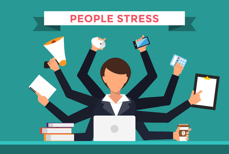 hard day at the office: Office job stress work vector illustration. Stress on work. Business woman day. Office life business girl. Business situation. People in action. Computer, table, many hands, work. Office vector people. Stress on job