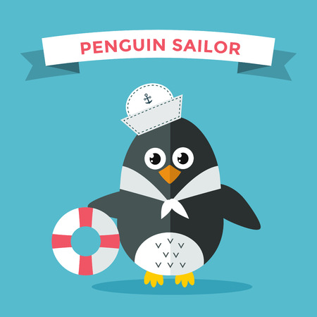 cruise travel: Cartoon penguin character vector illustration. Cartoon funny penguin sailor or captian. Penguin captain, sailor, captain hat, sailor penguin. Cartoon penguin vector illustration. Penguin vector character