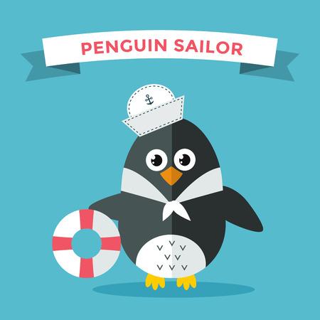 pinguino caricatura: Ilustraci�n de ping�ino vector de caracteres. Cartoon marinero ping�ino divertido o captian. Capit�n Penguin, marinero, sombrero de capit�n, ping�ino marinero. Ilustraci�n ping�ino vector de la historieta. Ping�ino car�cter vectorial