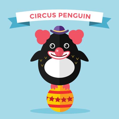 payasos caricatura: Ilustración de pingüino vector de caracteres. Cartoon payaso de circo divertido pingüino. Payaso pingüino, circo, cara del payaso, pingüino divertido. Ilustración pingüino vector de la historieta. Pingüino carácter vectorial