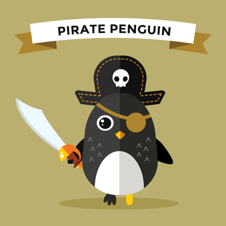 Cartoon penguin character vector illustration. Cartoon funny penguin captain or pirate. Penguin captain, sailor, pirate hat, pirate penguin. Cartoon penguin vector illustration. Penguin vector character Ilustrace