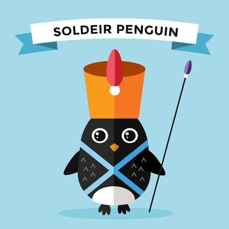 cartoon hat: Cartoon penguin character vector illustration. Cartoon funny penguin guard or military soldeir. Penguin soldeir, guardian, guard hat penguin. Cartoon penguin vector illustration. Penguin vector character
