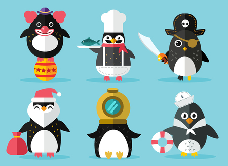 cartoon penguin: Penguin set vector illustration. Cartoon funny penguins different situations. Penguin clown, pirate, christmas, captain, sailor, cook. Cartoon penguin vector set illustration. Penguin vector characters Illustration