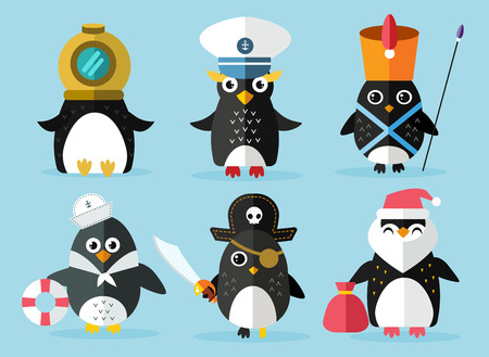 pinguino caricatura: Ping�ino establece ilustraci�n vectorial. Cartoon ping�inos divertidos diferentes situaciones. Payaso ping�ino, pirata, navidad, capit�n, marinero, cocinero. Ping�ino de la historieta conjunto de vectores ilustraci�n. Personajes de vectores ping�ino