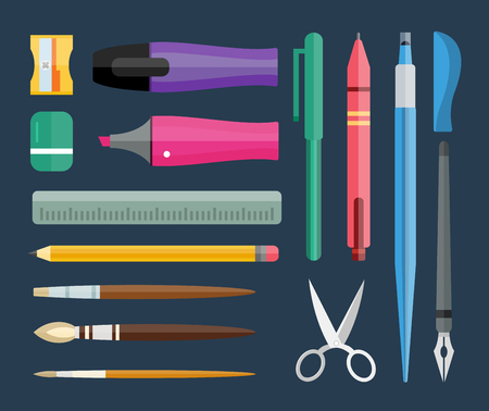 tools icon: Flat stationery and drawing tools, pen set. Paintbrushes, felt-tip, pencil and marker highlighter collection. Pens vector set. School pens and tools. Artistic tools and brushes Illustration