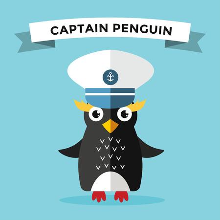 penguin cartoon: Cartoon penguin character vector illustration. Cartoon funny penguin sailor or captian. Penguin captain, sailor, captain hat, sailor penguin. Cartoon penguin vector illustration. Penguin vector character