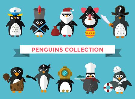 Penguin set vector illustration. Cartoon funny penguins different situations. Penguin clown, pirate, christmas, captain, sailor, cook. Cartoon penguin vector set illustration. Penguin vector characters Illustration