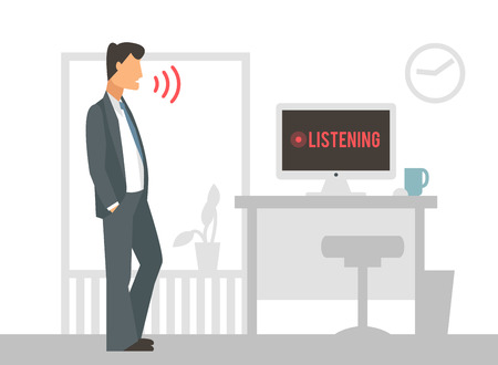 Spraakbesturing vector illustratie. Slimme computer voice control met menselijke stem. Smartphone, slimme huis, moderne computertechnologie. Spraakbesturing commando achtergrond. Spraakbesturing icoon Stockfoto - 47747572
