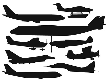 Civil aviation travel passanger air plane black vector silhouette. Civil commercial airplane flying vector illustration. Travel plane black icons isolated on white background. Cargo transportation airplane vector isolated