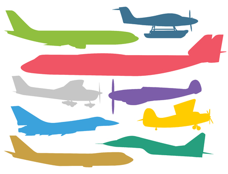 Civil aviation travel passanger air plane colorful vector silhouette. Civil commercial airplane flying vector illustration. Travel plane color icons isolated on white background. Cargo transportation airplane vector isolated