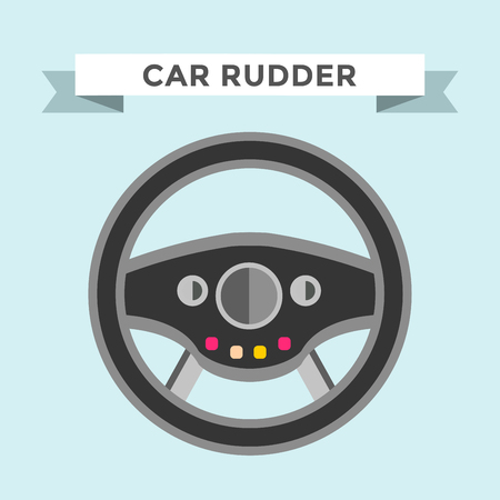 vector wheel: Vector rudder flat icon. Rudder wheel illustration. Car wheel control rudder vector icon. Rudders cars, wheel, round, control, track, sport. Rudder icon. Wheel icon. Rudder and wheel isolated Illustration