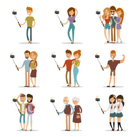 boy friend: Selfie shots family and couples vector illustration. Selfie shot man, woman, teenagers, pensioners, gays. Vector selfie people set. Selfie vector concept modern life with selfie photo camera. Selfie smile, selfie concept