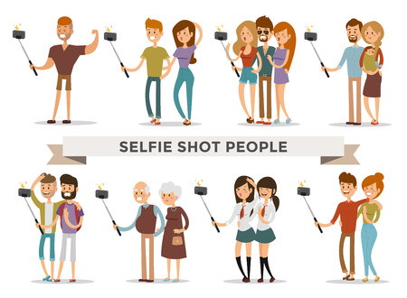 friend: Selfie shots family and couples vector illustration. Selfie shot man, woman, teenagers, pensioners, gays. Vector selfie people set. Selfie vector concept modern life with selfie photo camera. Selfie smile, selfie concept