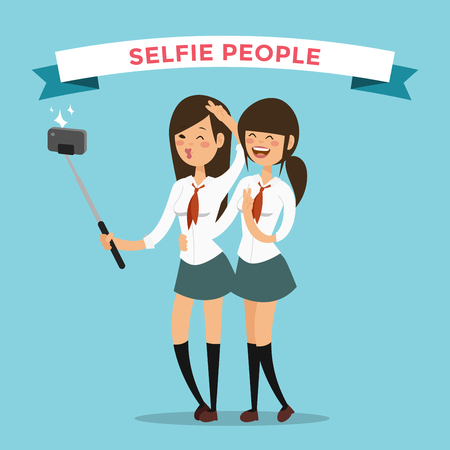 yong: Selfie shots yong teenager school girls couple vector illustration. Selfie shot girls, friends. Vector selfie people set. Selfie vector concept modern life with selfie photo camera. Selfie smile, selfie concept Illustration