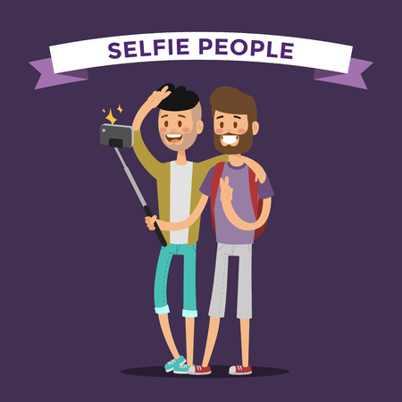 Selfie shots mans gays couple vector illustration. Selfie shot man, friends, gays. Vector selfie people set. Selfie vector concept modern life with selfie photo camera. Selfie smile, selfie concept