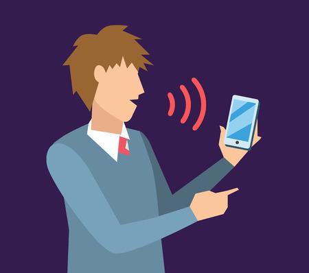 Spraakbesturing vector illustratie. Slimme computer voice control met menselijke stem. Smartphone, slimme huis, moderne computertechnologie. Spraakbesturing commando achtergrond. Spraakbesturing icoon