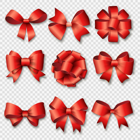 gift background: Ribbons set for Christmas gifts. Red gift bows with ribbons vector illustration. Red gift ribbons and bows for New Year celebrate. Christmas ribbons, christmas gifts, christmas bows. Birthday ribbons, birthday gifts Illustration
