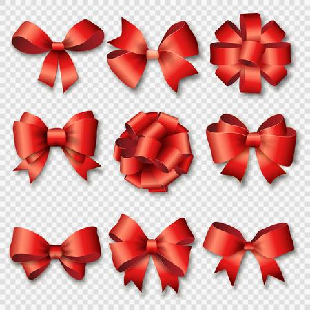 Stuhy stanovené pro vánoční dárky. Červená dárkové luky se stuhami vektorové ilustrace. Červené dárkové stuhy a mašle na Nový rok slavit. Vánoce stuhy, vánoční dárky, vánoční luky. Narozeniny pásky, dárky k narozeninám