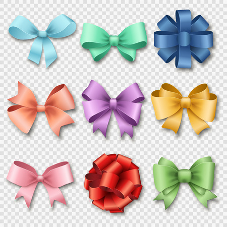 Ribbons set for Christmas gifts. Red gift bows with ribbons vector illustration. Red gift ribbons and bows for New Year celebrate. Christmas ribbons, christmas gifts, christmas bows. Birthday ribbons, birthday gifts Çizim