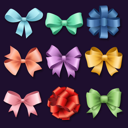 ribbons and bows: Ribbons set for Christmas gifts. Red gift bows with ribbons vector illustration. Red gift ribbons and bows for New Year celebrate. Christmas ribbons, christmas gifts, christmas bows. Birthday ribbons, birthday gifts Illustration