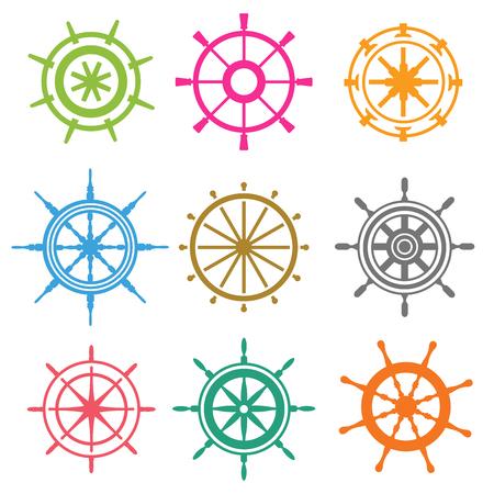 timon barco: Vector iconos timón planas. Ilustración de la rueda del timón. Iconos timón vector de control de la rueda del barco. Timones naves mar, rueda, redondos, de control, de yates, cruceros. Icono del timón. Iconos ruedas. Rueda de timón aislado
