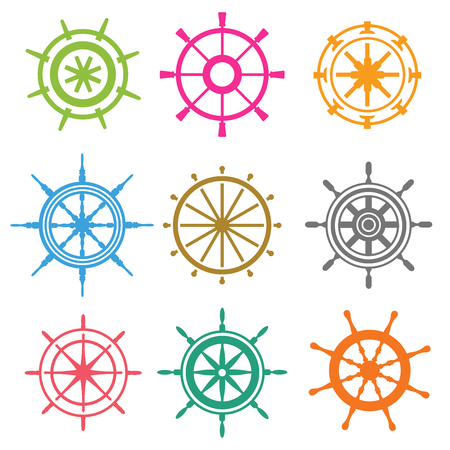 vector wheel: Vector rudder flat icons. Rudder wheel illustration. Boat wheel control rudder vector icons. Rudders ships sea, wheel, round, control, yacht, cruise. Rudder icon. Wheel icons. Rudder wheel isolated
