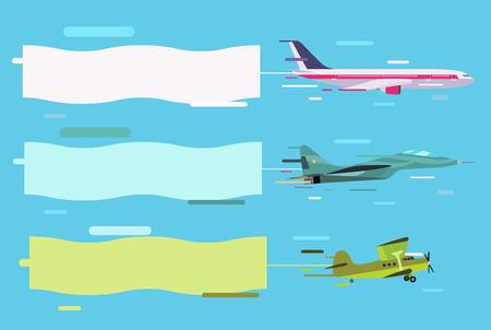 pilotos aviadores: Vuelo plano con los banners publicitarios. Planes establecen pancartas. Vuelo plano con pancartas. Vector Avión, avión aislado, avión silueta. Aislado Avión silueta del vector de la bandera. Diseño moderno plana