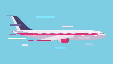 civil: Civil aviation travel passenger air plane vector illustration. Civil commercial airplane flying vector silhouette. Travel plane isolated on background. Cargo transportation airplane vector isolated
