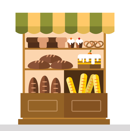 bakery products: Bakery shop stall with bakery products. Bakery cakes, bread, bakery shop stall isolated. Food shop, cake cafe, bread shop isolated. Bakery store background. Bakery products, bakery shop, bakery sweets Illustration