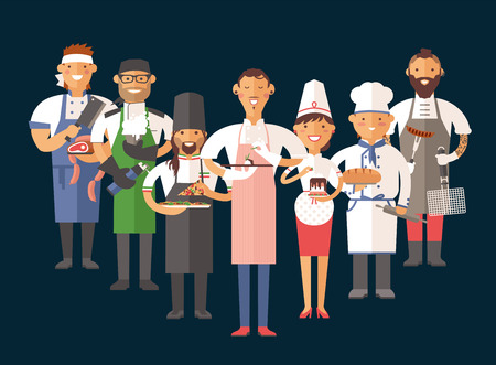 Vector cooking chefs vector illustration. Cartoon cook chefs icons. Restaurant cook chefs hat and cook uniform. Vector cooks, cooks uniform, different cooks chefs, chfs isolated, cook people Çizim