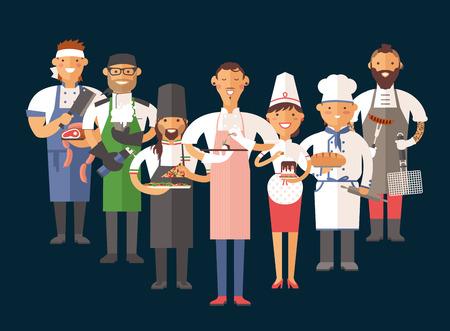 mujeres cocinando: Vector de cocina cocineros ilustración vectorial. Cocinero de dibujos animados chefs iconos. Restaurante del cocinero sombrero de chefs y cocinar uniforme. Cocineros del vector, cocineros uniforme, diferentes cocineros chefs, chfs aislado, cocinar gente