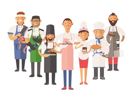 panadero: Vector de cocina cocineros ilustración vectorial. Cocinero de dibujos animados chefs iconos. Restaurante del cocinero sombrero de chefs y cocinar uniforme. Cocineros del vector, cocineros uniforme, diferentes cocineros chefs, chfs aislado, cocinar gente