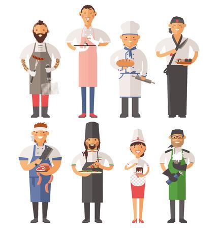 trabajo: Vector de cocina cocineros ilustración vectorial. Cocinero de dibujos animados chefs iconos. Restaurante del cocinero sombrero de chefs y cocinar uniforme. Cocineros del vector, cocineros uniforme, diferentes cocineros chefs, chfs aislado, cocinar gente