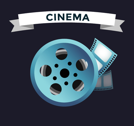 roll film: Film cinema technology vector. Twisted movie film strip with round box. Cinema film roll vector illustration. Cinema films 3d design, vector cinema movie image illustration. Movie logo icon isolated on white background. Movie film Illustration