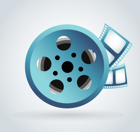 film frame: Film cinema technology vector. Twisted movie film strip with round box. Cinema film roll vector illustration. Cinema films 3d design, vector cinema movie image illustration. Movie logo icon isolated on white background. Movie film Illustration