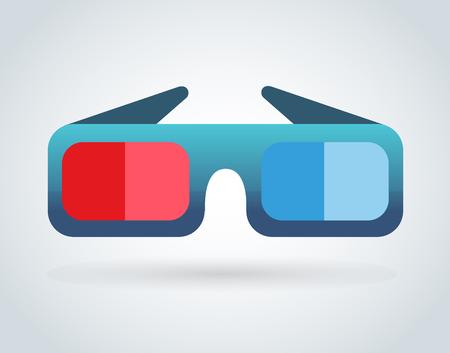 gafas: Vidrios de la pel�cula del cine 3d en el fondo blanco. Ilustraci�n del vector de los vidrios del cine 3d. Vidrios de la pel�cula del vector, gafas de silueta aislados Vectores