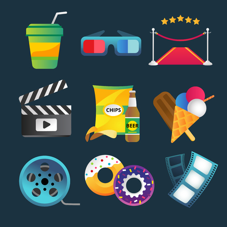 movie and popcorn: Movie vector icons set. Movie icons isolated, movie food and drinks. Clapboard, tickets film, cakes and drinks vector icons. Ice cream, glasses, chips, beer. Cinema movie icons, cinema vector 3d illustration